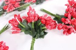 тычинки с ягодами красные (12 букет. по 12шт)