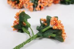 тычинки сахарные оранжевые (12 букет. по 12 шт)
