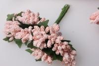 тычинки сахарные персиковые с листочками 7см ( 144 шт в уп) 1624