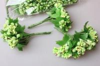тычинки салатовые сахарные с листочками 7см (120 шт в упаковке) 1778