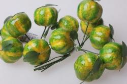 искусственные фрукты тыква зеленая 3см (12 пучков по 6 шт) искусственные фрукты 7747