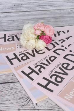 """Упак. материал флористическая крафт-бумага """"Хорошие новости"""", 52 х 58 см, 20 лист., розовый 1656М"""