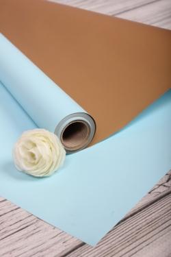 Упак. материал флористическая пленка с золотой стороной, 65 мкр, 58 см х 10 м, голубой 5180М