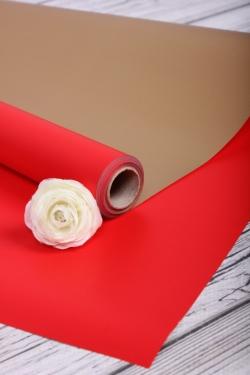 Упак. материал флористическая пленка с золотой стороной, 65 мкр, 58 см х 10 м, красный 5074М