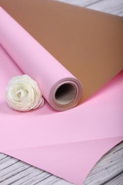 Упак. материал флористическая пленка с золотой стороной, 65 мкр, 58 см х 10 м, розовый 5173М