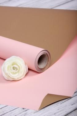 Упак. материал флористическая пленка с золотой стороной, 65 мкр, 58 см х 10 м, светло-розовый 5142М