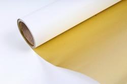Упак. материал флористическая пленка с золотом, 58 см х 5 м, белый (М) 9600
