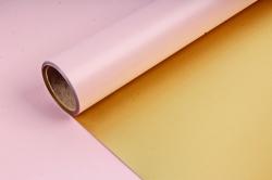 Упак. материал флористическая пленка с золотом, 58 см х 5 м, чайная роза (М) 9549