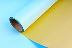 Упак. материал флористическая пленка с золотом, 58 см х 5 м, голубой (М) 9556