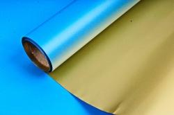 Упак. материал флористическая пленка с золотом, 58 см х 5 м, серо-голубой (М) 9563