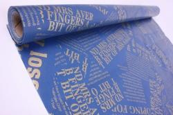 "Упак.материал Флористический Пергамент ""Газета"", 50cm*10m, (Золото на синем, WXP-39)"