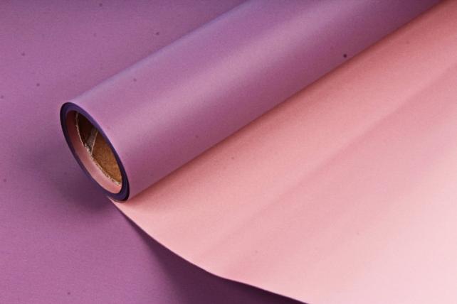 "Упак. материал матовая плёнка двухцветная ""Ля Розе"" 58см х 5м, фиолетовый/бежевый (М) 0880"