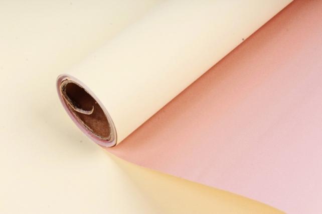 "Упак. материал матовая плёнка двухцветная ""Ля Розе"" 58см х 5м, желтый/розовый (М) 0927"