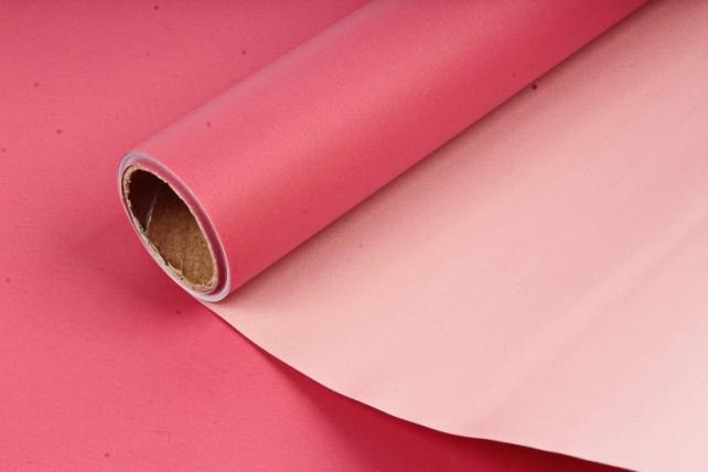 "Упак. материал матовая плёнка двухцветная ""Ля Розе"" 58см х 5м, красный/бежевый (М) 0873"