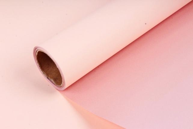 "Упак. материал матовая плёнка двухцветная ""Ля Розе"" 58см х 5м, персиковый/розовый (М) 0934"