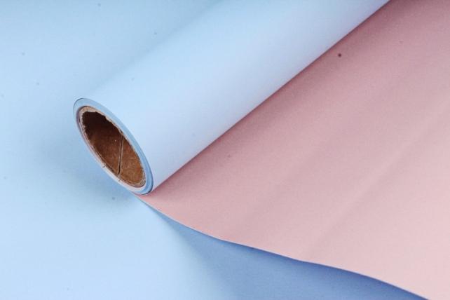 """Упак. материал матовая плёнка двухцветная """"Ля Розе"""" 58см х 5м, синий/розовый (М) 0965"""