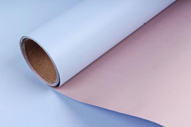 """Упак. материал матовая плёнка двухцветная """"Ля Розе"""", 60см х 5м, синий/розовый (М) 3287"""