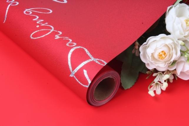 """Упак. материал матовая пленка """"Каприз"""", 70 мкр, 60 см х 10 м, красный 6466 М"""