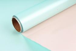 """Упак. материал пленка двухцветная """"Дуэт"""", 58см х 5м, розовый/пастельно-зеленый (М) 0392"""