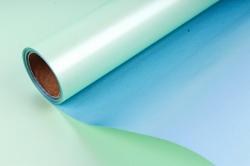 """Упак. материал пленка двухцветная """"Дуэт"""", 58см х 5м, светло-зеленый/голубой металлик (М) 0408"""