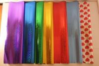голография 0.7 упаковка для цветов,- цветочная плёнка - рулон 0,7 голография - красный 9423