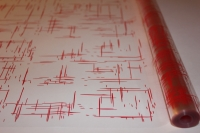 граффити 0.7 упаковка для цветов,- цветочная плёнка - рулон 0,7 граффити - красный 13833