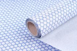 Упаковочная подарочная пленка 50cmx5m круги на голубом