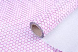 Упаковочная подарочная пленка 50cmx5m круги на розовом