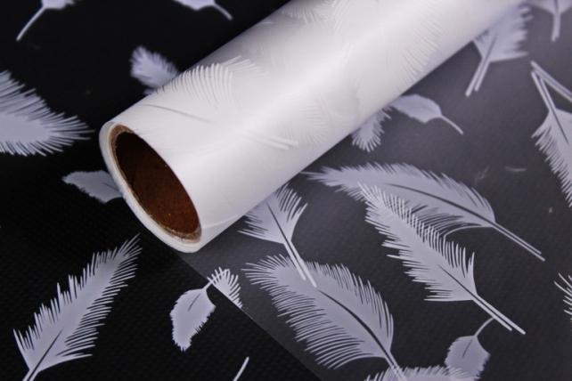 """Упаковочный материал для цветов пленка """"перья"""", 50 см х 5 м, белый"""