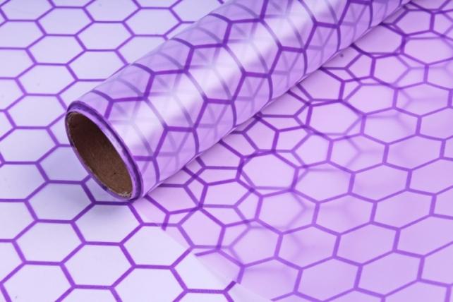 """Упаковочный Материал флористическая пленка """"Соты"""", 58cm x 5m, Фиолетовый"""