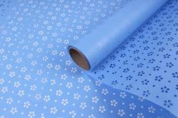 """Упаковочный материал Ламинированный фетр """"Цветочки"""", 60 см х 5 м Голубой"""