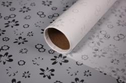 """Упаковочный материал Ламинированный фетр """"Ромашки"""", 60 см х 5 м Белый"""