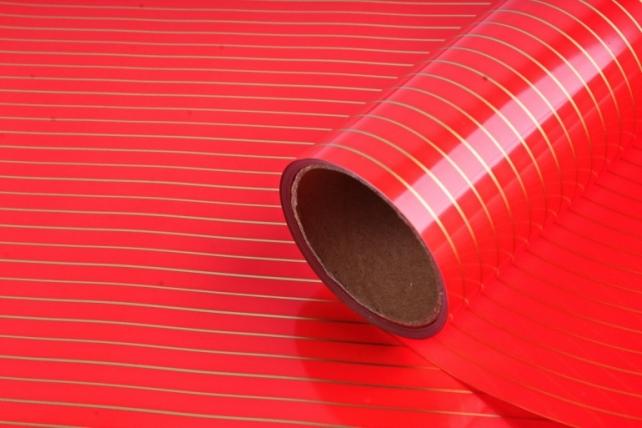 """Упаковочный материал Матовая пленка с каймой """"Золотая полоса"""", 60 см х 5 м, Красный"""