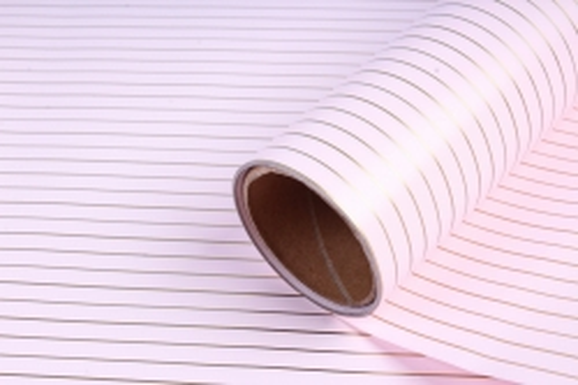 """Упаковочный материал Матовая пленка с каймой """"Золотая полоса"""", 60 см х 5 м, Розовый"""