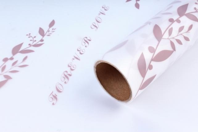 """Упаковочный материал Матовая пленка """"Веточка"""", 60 x 5m, Сливовый"""