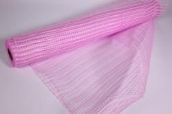 """Упаковочный материал сетка """"Акцент"""" 54 см x 5,5 м (белый/розовый LM-26)"""