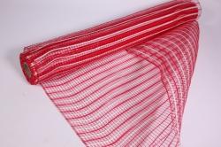 """Упаковочный материал сетка """"Акцент"""" 54 см x 5,5 м (красный/белый LM-23)"""