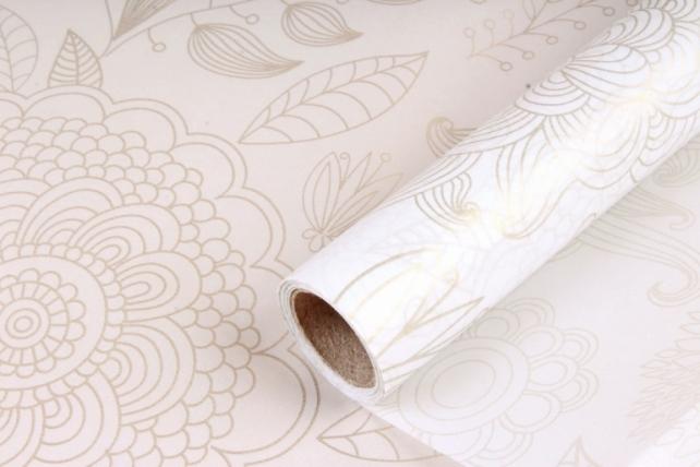 Упаковочный материал Тишью с узором, 58 см х 10 м, белый 0316 М