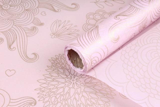 Упаковочный материал Тишью с узором, 58 см х 10 м, светло-розовый 0378  М