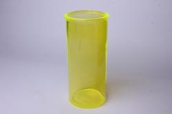 Ваза  92-007-1 прозрачная крш. жёлтая 102С Н=19,5 см