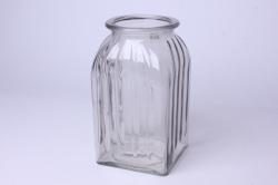 Ваза Ханна 92-023 прозрачная крш. серая Н=18,5 см