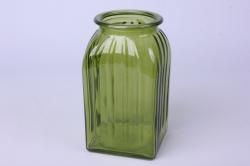Ваза Ханна 92-023 прозрачная крш. зеленая 375С Н=18,5 см