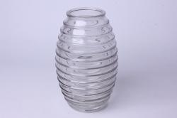 Ваза Лайт 92-002 прозрачная крш. серая Н=19,5см