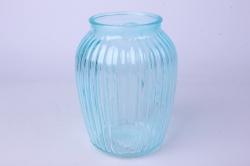 Ваза Луана 92-021 прозрачная крш. голубая 306С Н=19,5см