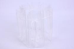 Ваза одноразовая для букета прозрачная с затяжкой d=15, h=16.5см