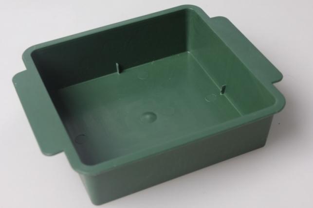 Ваза поддон квадрат под 1/2 кирпича 12х12х3см (зеленый) В6