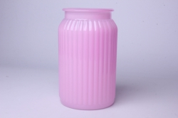 Ваза Реана 92-022 прозрачная крш. нежно-розовая флуоресцентная Н=20см