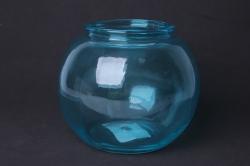 Ваза Зара 92-006-1 прозрачная крш. голубая Н=13 см