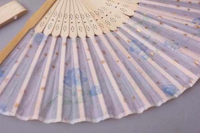 веер декоративный 30см в ассортименте (дерево+ткань)