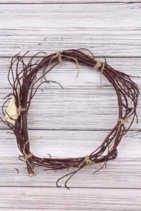 Венок плетеный из красной лозы 35 см